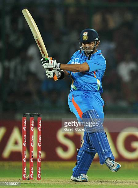 Gautam Gambhir of India bats during the 2nd One Day International between India and England at Feroz Shah Kotla Stadium on October 17 2011 in Delhi...