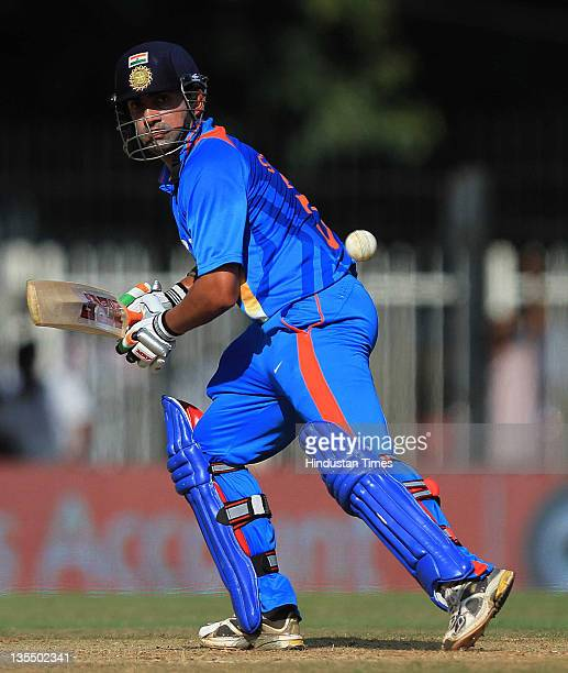 Gautam Gambhir of India bats during the 5th One Day International between India and West Indies at the TNCA MA Chidambaram Stadium on December 11...