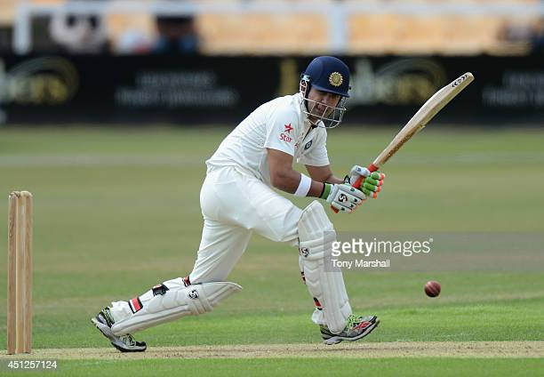 Gautam Gambhir of India batting during the Tour Match between Leicestershire and India at Grace Road on June 26 2014 in Leicester England