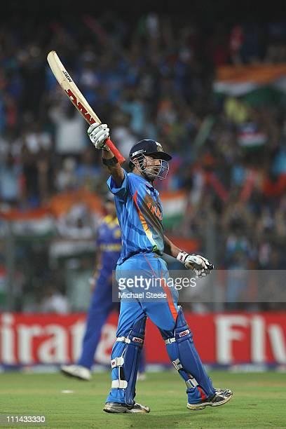 Gautam Gambhir of India celebrates reaching his fifty during the 2011 ICC World Cup Final between India and Sri Lanka at Wankhede Stadium on April 2...