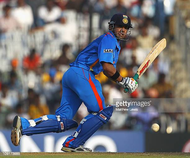 Gautam Gambhir of India edges the ball towards the boundary during the 2011 ICC World Cup Warm up game against India and New Zealand at the MA...