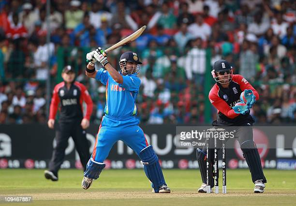 Gautam Gambhir of India hits out during the 2011 ICC World Cup Group B match between India and England at M Chinnaswamy Stadium on February 27 2011...