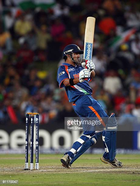 Gautam Gambhir of India hits out during the ICC Champions Trophy group A match between India and Pakistan at Centurion on September 26 2009 in...