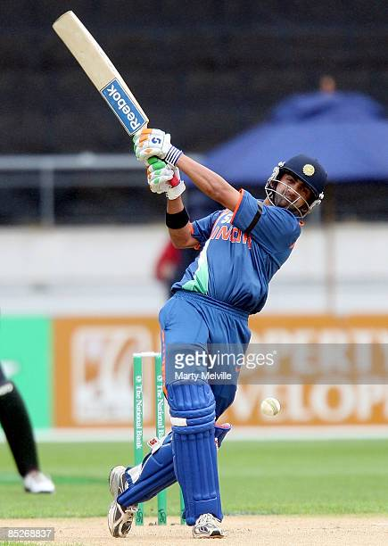 Gautam Gambhir of India hits the ball during the second one day international match between the New Zealand Black Caps and India at Westpac Stadium...
