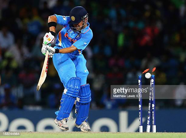 Gautam Gambhir of India is bowled by Morne Morkel of South Africa during the ICC World Twenty20 2012 Super Eights Group 2 match between India and...