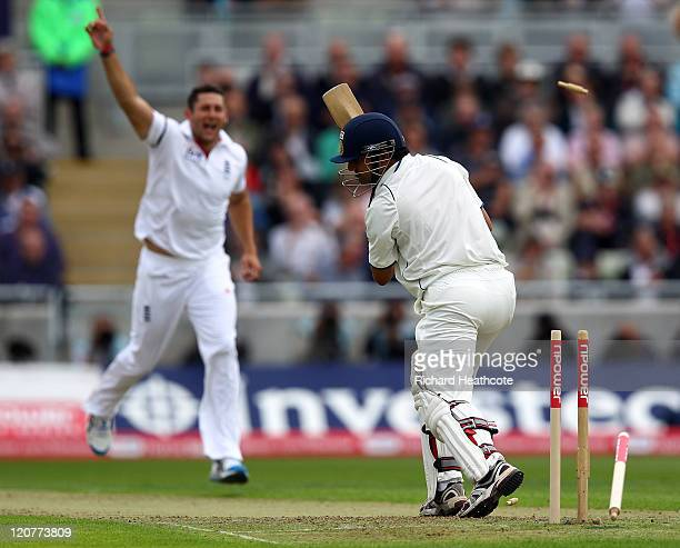 Gautam Gambhir of India is bowled out by Tim Bresnan of England during day one of the 3rd npower Test at Edgbaston on August 10 2011 in Birmingham...