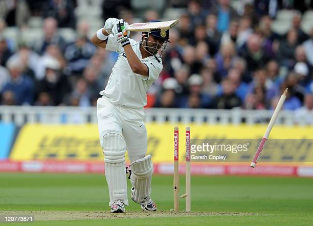 Gautam Gambhir of India is bowled out during day one of the 3rd npower Test at Edgbaston on August 10 2011 in Birmingham England
