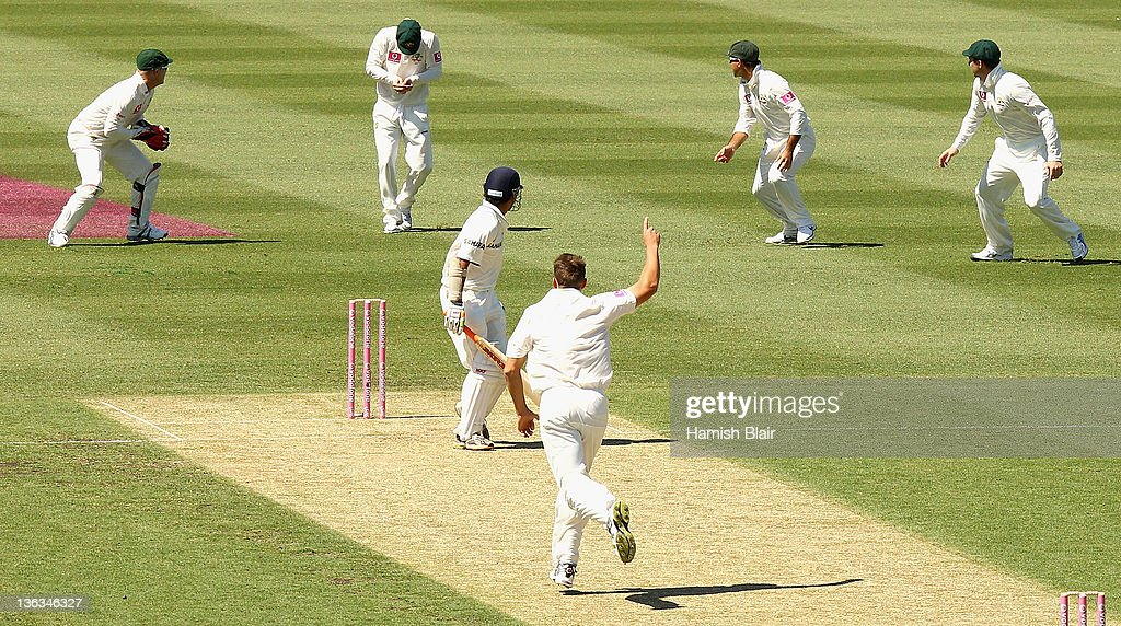 <a gi-track='captionPersonalityLinkClicked' href=/galleries/search?phrase=Gautam+Gambhir&family=editorial&specificpeople=707703 ng-click='$event.stopPropagation()'>Gautam Gambhir</a> of India is caught by Michael Clarke of Australia from the bowling of <a gi-track='captionPersonalityLinkClicked' href=/galleries/search?phrase=James+Pattinson&family=editorial&specificpeople=4884816 ng-click='$event.stopPropagation()'>James Pattinson</a> of Australia during day one of the Second Test Match between Australia and India at Sydney Cricket Ground on January 3, 2012 in Sydney, Australia.