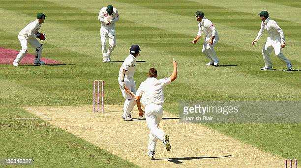 Gautam Gambhir of India is caught by Michael Clarke of Australia from the bowling of James Pattinson of Australia during day one of the Second Test...
