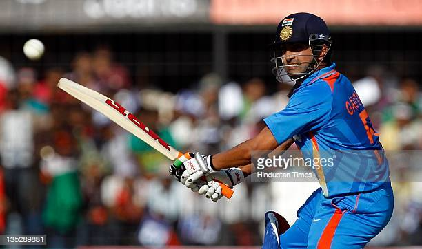 Gautam Gambhir of India plays a shot during the 4th One Day International between India and West Indies at Holkar Stadium on December 8 2011 in...