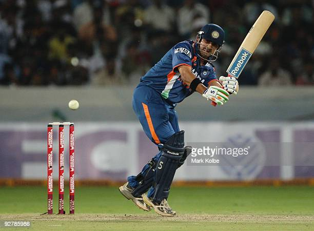 Gautam Gambhir of India plays the ball to the onside during the fifth One Day International match between India and Australia at Rajiv Gandhi...