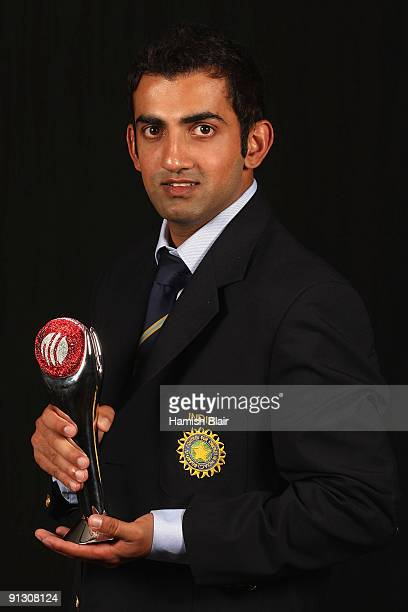 Gautam Gambhir of India poses with his award for The Test Player of the Year during the ICC Annual Awards Ceremony held at the Sandton Convention...