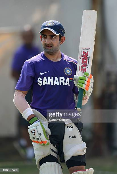 Gautam Gambhir of India waits to bat during a nets session at Sardar Patel Stadium on November 14 2012 in Ahmedabad India