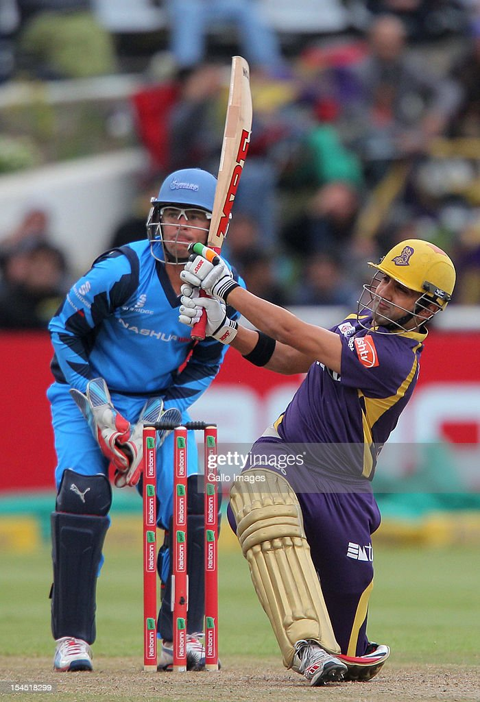 <a gi-track='captionPersonalityLinkClicked' href=/galleries/search?phrase=Gautam+Gambhir&family=editorial&specificpeople=707703 ng-click='$event.stopPropagation()'>Gautam Gambhir</a> of Kolkata Knight Riders in action during the Champions league twenty20 match between CLT20 Kolkata Knight Riders v Nashua Titans at Sahara Park Newlands on October 21, 2012 in Cape Town, South Africa.