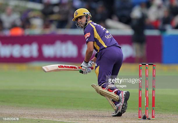 Gautam Gambhir of the Kolkata Knight Riders in action during the Champions league twenty20 match between CLT20 Kolkata Knight Riders v Nashua Titans...