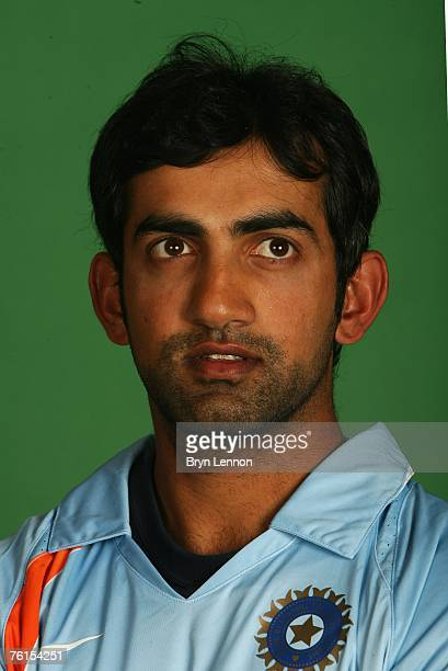 Gautam Gambhir poses during a photo call at the Marriott Hotel on August 17 2007 in Northampton England