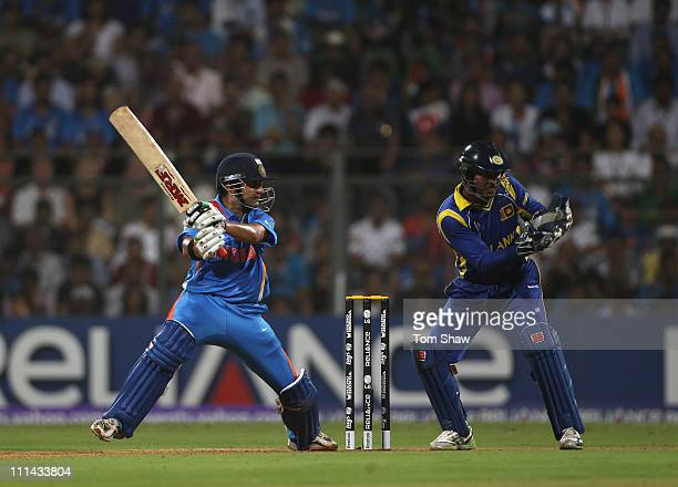 Gautem Gambhir of India hits out during the 2011 ICC World Cup Final between India and Sri Lanka at the Wankhede Stadium on April 2 2011 in Mumbai...