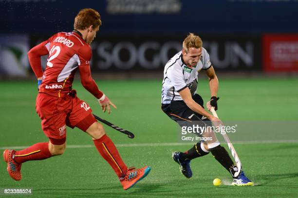 Gauthier Boccard of Belgium and Niklas Wellen of Germany during day 9 of the FIH Hockey World League Men's Semi Finals final match between Belgium...