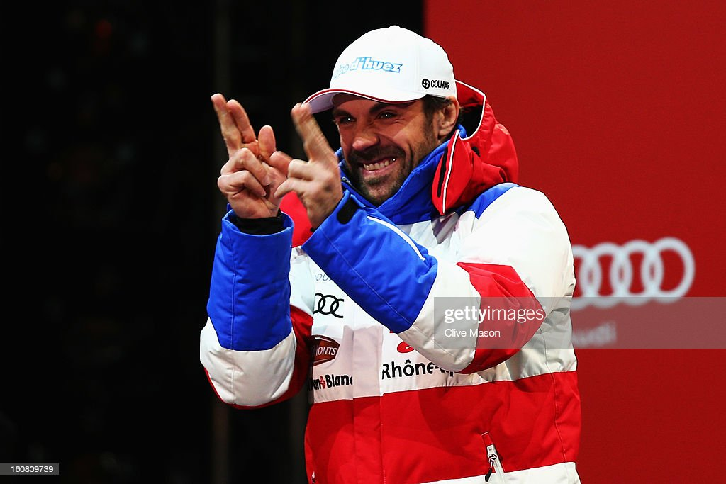 <a gi-track='captionPersonalityLinkClicked' href=/galleries/search?phrase=Gauthier+De+Tessieres&family=editorial&specificpeople=871413 ng-click='$event.stopPropagation()'>Gauthier De Tessieres</a> of France celebrates at the medal ceremony after winning the silver medal in the Men's Super G event during the Alpine FIS Ski World Championships on February 6, 2013 in Schladming, Austria.