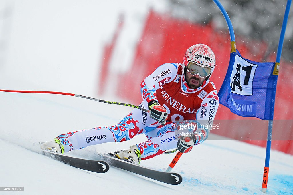 Gauthier De Tessieres of France competes in the Super G stage on the Hahnenkamm Course during the Audi FIS Alpine Ski World Cup Super Combined race on January 26, 2013 in Kitzbuhel, Austria.