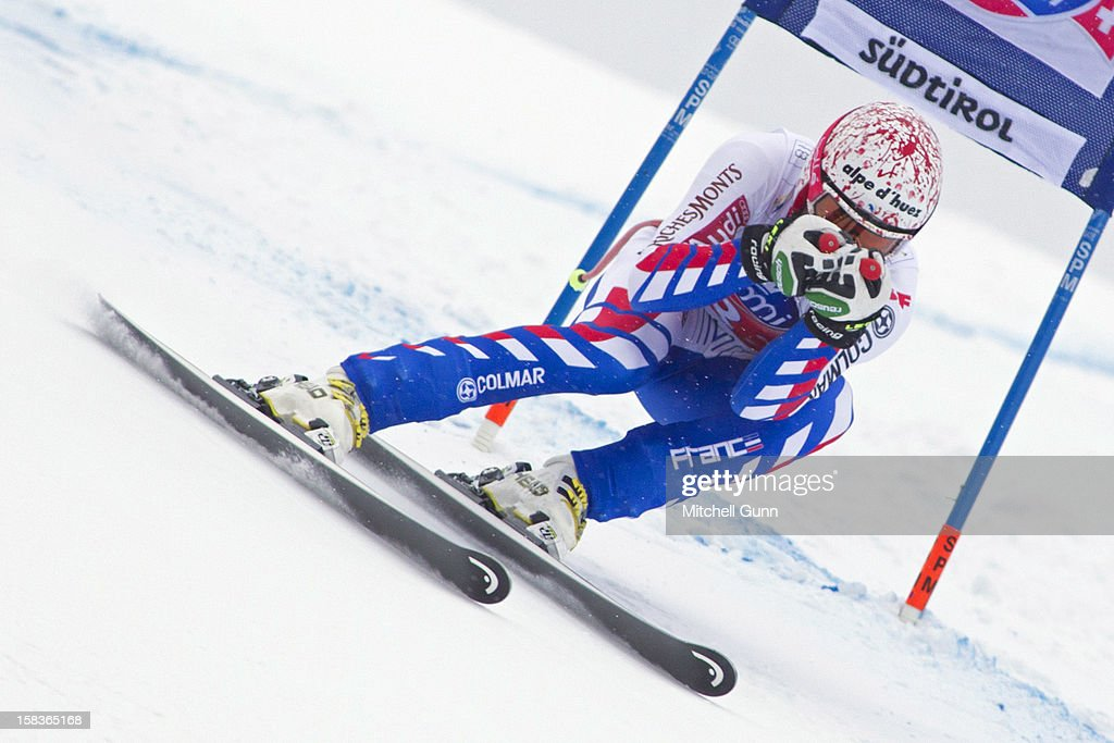 <a gi-track='captionPersonalityLinkClicked' href=/galleries/search?phrase=Gauthier+De+Tessieres&family=editorial&specificpeople=871413 ng-click='$event.stopPropagation()'>Gauthier De Tessieres</a> of France races down the Saslong course whilst competing in the Audi FIS Alpine Ski World Cup Super Giant Slalom race on December 14 2012 in Val Gardena, Italy.