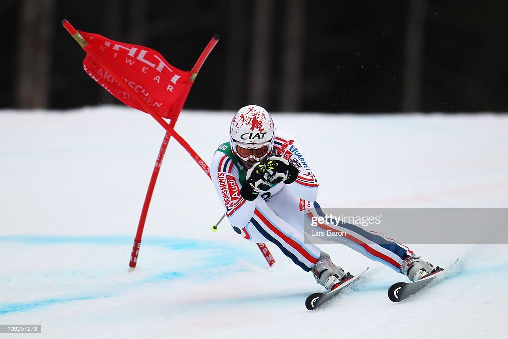 <a gi-track='captionPersonalityLinkClicked' href=/galleries/search?phrase=Gauthier+De+Tessieres&family=editorial&specificpeople=871413 ng-click='$event.stopPropagation()'>Gauthier De Tessieres</a> of France skis in the Men's Giant Slalom during the Alpine FIS Ski World Championships on the Kandahar course on February 18, 2011 in Garmisch-Partenkirchen, Germany.