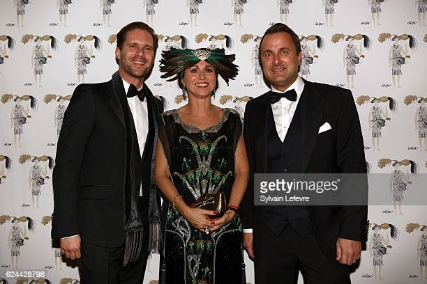 Gauthier Destenay Florence ReckingerTaddeï and Luxembourg Prime Minister Xavier Bettel arrive at the 20th Luxembourg Red Cross Ball Gala on November...