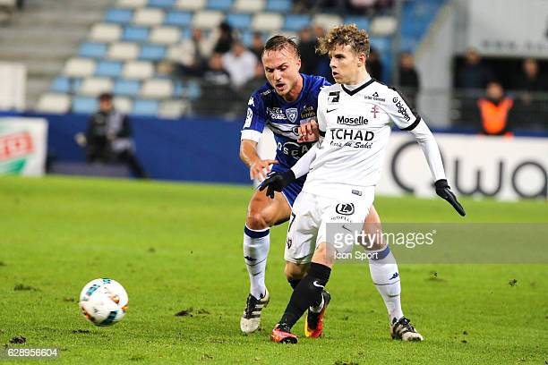Gauthier Hein of Metz and Pierre Bengtsson of Bastia during the French Ligue 1 match between Bastia and Metz at Stade Armand Cesari on December 10...