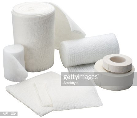 Gauze bandages with tape, assorted