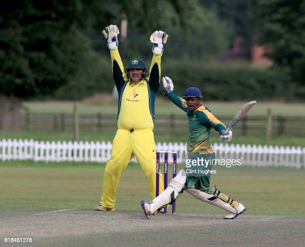 Gavan Hicks of Australia appeals unsuccessfully for the wicket of Phaphama Mthana of South Africa during the T20 INAS TriSeries at Toft Cricket Club...