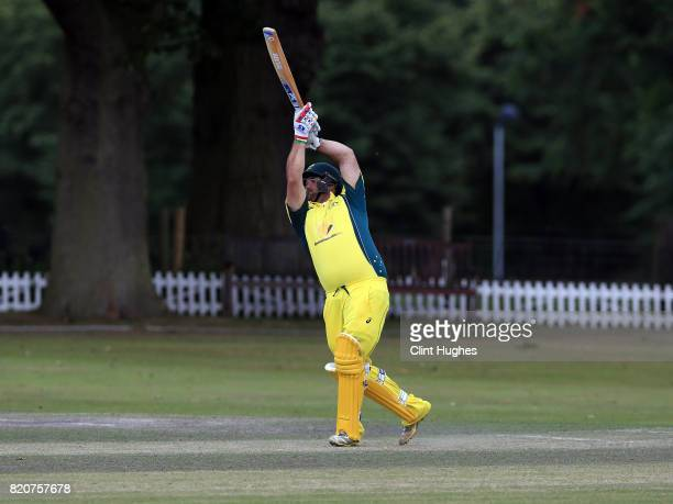 Gavan Hicks of Australia bats during the T20 INAS TriSeries against South Africa at Toft Cricket Club on July 18 2017 in Knutsford England