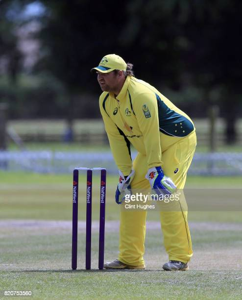 Gavan Hicks of Australia during the T20 INAS TriSeries against England at Toft Cricket Club on July 18 2017 in Knutsford England