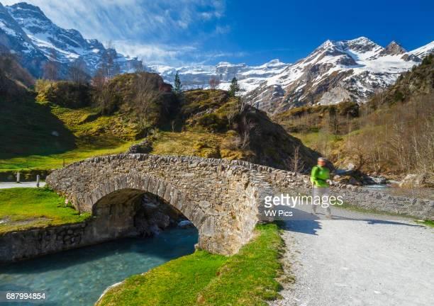 Gavarnie glacier cirque and Gave de Gavarnie river HautesPyrenees department MidiPyrenees region France Europe