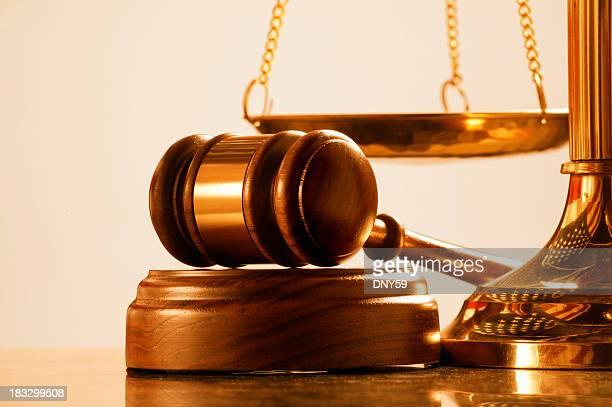 Martelletto del moderatore e suono bloccare a base di ottone scale della Giustizia