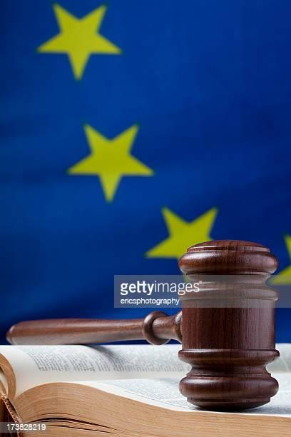Gavel on law book and EU flag