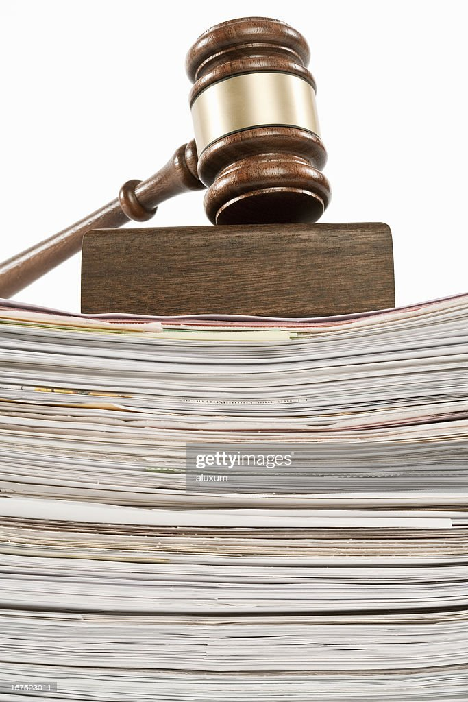 gavel on pile of documents