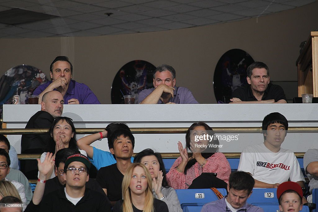 Gavin (far left) and <a gi-track='captionPersonalityLinkClicked' href=/galleries/search?phrase=Joe+Maloof&family=editorial&specificpeople=229023 ng-click='$event.stopPropagation()'>Joe Maloof</a> (far right), owners of the Sacramento Kings, watch as their team takes on the Portland Trail Blazers on April 15, 2012 at Power Balance Pavilion in Sacramento, California.
