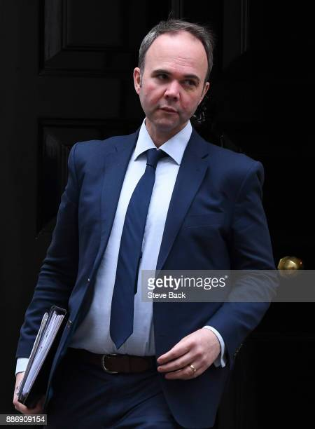Gavin Barwell Theresa May's chief of staff leaves for Prime Minister's Questions as he walks to a car in Downing Street on December 6 2017 in London...