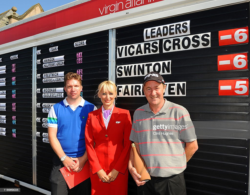 Gavin Beddow (L) and Alan Powys (R) of Vicars Cross Golf Club and Julie Sykes of Virgin Atlantic crew pose for photos after winning the Virgin Atlantic PGA National Pro-Am Championship - Regional at St Annes Old Links Golf Club on July 13, 2011 in Lytham St Annes, England
