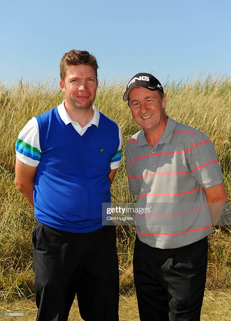 Gavin Beddow (L) and Alan Powys (R) of Vicars Cross Golf Club pose for photos after winning the Virgin Atlantic PGA National Pro-Am Championship - Regional at St Annes Old Links Golf Club on July 13, 2011 in Lytham St Annes, England