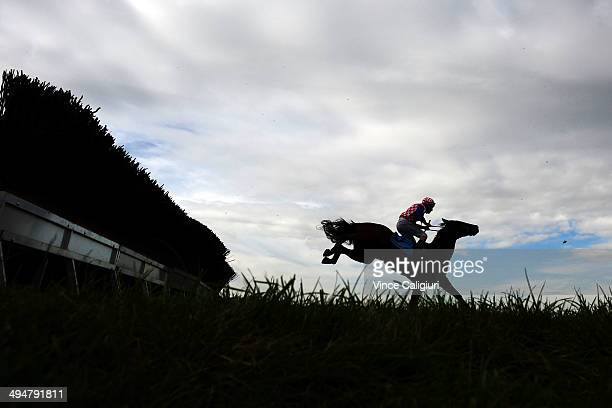 Gavin Bedggood riding Fair Script jumps the last steeple during Race 3 The Australian Steeplechase during Melbourne Racing at Sandown Lakeside on May...