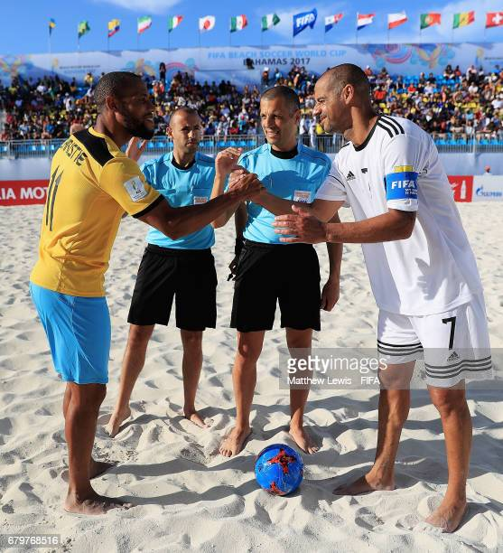 Gavin Christie of Bahamas and Madjer of FIFA Beach Soccer Allstarsshake hands before the FIFA Beach Soccer World Cup Bahamas 2017 Exhibition match...
