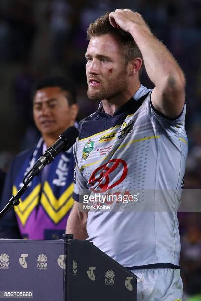 Gavin Cooper of the Cowboys addresses the crowd after the 2017 NRL Grand Final match between the Melbourne Storm and the North Queensland Cowboys at...