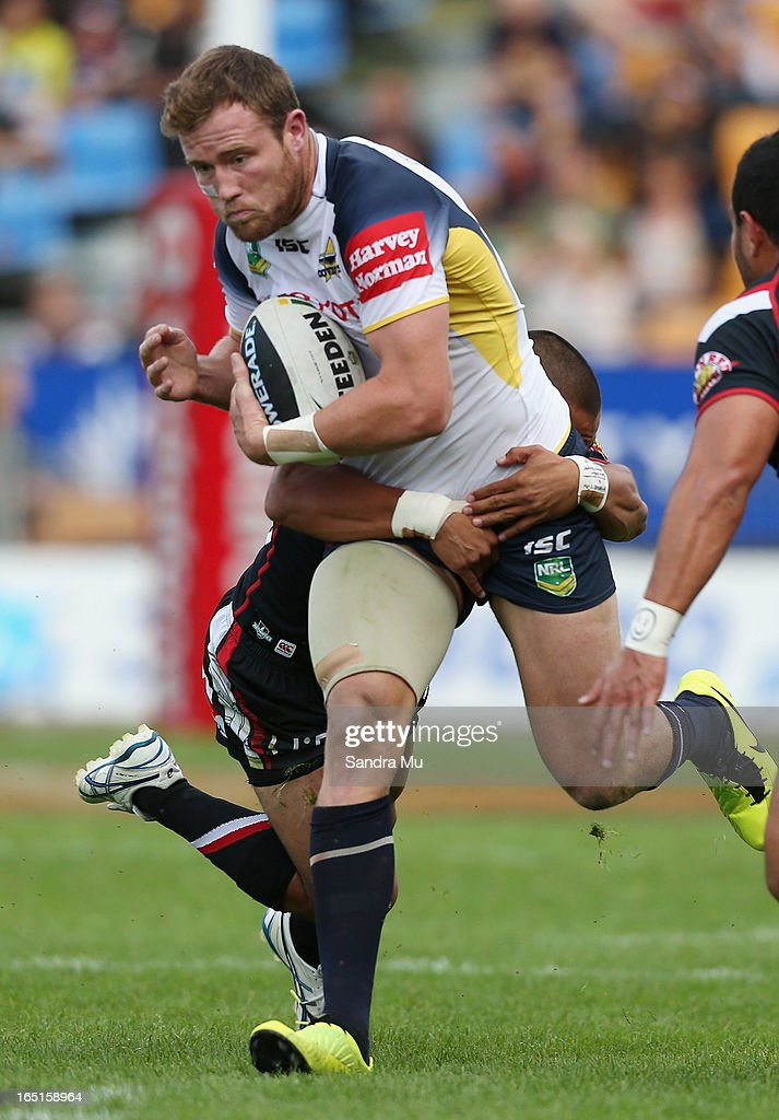 Gavin Cooper of the Cowboys in action during the round four NRL match between the New Zealand Warriors and the North Queensland Cowboys at Mt Smart Stadium on April 1, 2013 in Auckland, New Zealand.