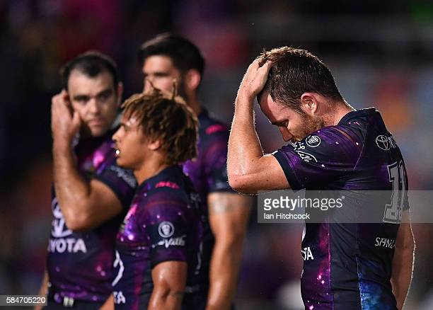Gavin Cooper of the Cowboys looks dejected after losing the round 21 NRL match between the North Queensland Cowboys and the Melbourne Storm at...