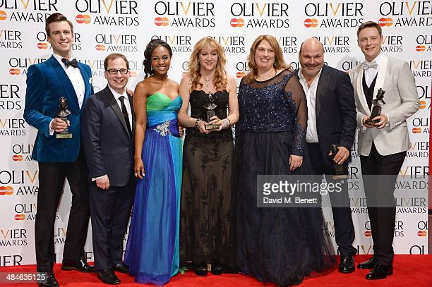 Gavin Creel Jared Gertner Alexia Khadime Sonia Friedman Anne Garefino Casey Nicholaw and Stephen Ashfield celebrate the Mastercard Best New Musical...