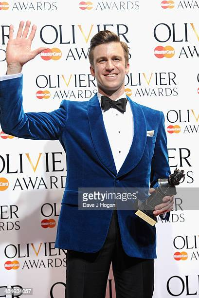 Gavin Creel with his Best Actor in a Musical award for The Book of Mormon during the Laurence Olivier Awards at the Royal Opera House on April 13...