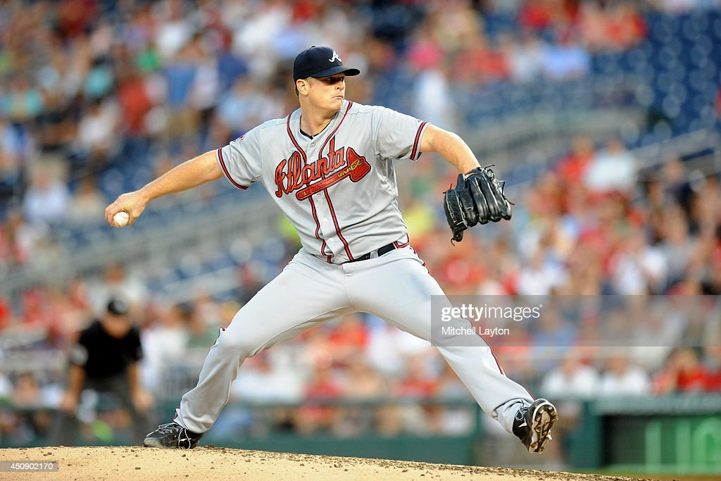 <a gi-track='captionPersonalityLinkClicked' href=/galleries/search?phrase=Gavin+Floyd&family=editorial&specificpeople=224627 ng-click='$event.stopPropagation()'>Gavin Floyd</a> #32 of the Atlanta Braves pitches in the sixth inning during a baseball game against the Washington Nationals on June 19, 2014 at Nationals Park in Washington, DC. The Braves won 3-0.