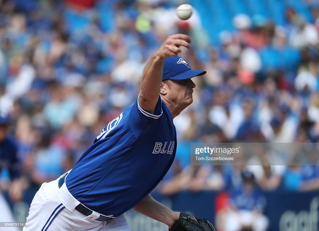 <a gi-track='captionPersonalityLinkClicked' href=/galleries/search?phrase=Gavin+Floyd&family=editorial&specificpeople=224627 ng-click='$event.stopPropagation()'>Gavin Floyd</a> #39 of the Toronto Blue Jays delivers a pitch in the ninth inning during MLB game action against the Boston Red Sox on May 28, 2016 at Rogers Centre in Toronto, Ontario, Canada.