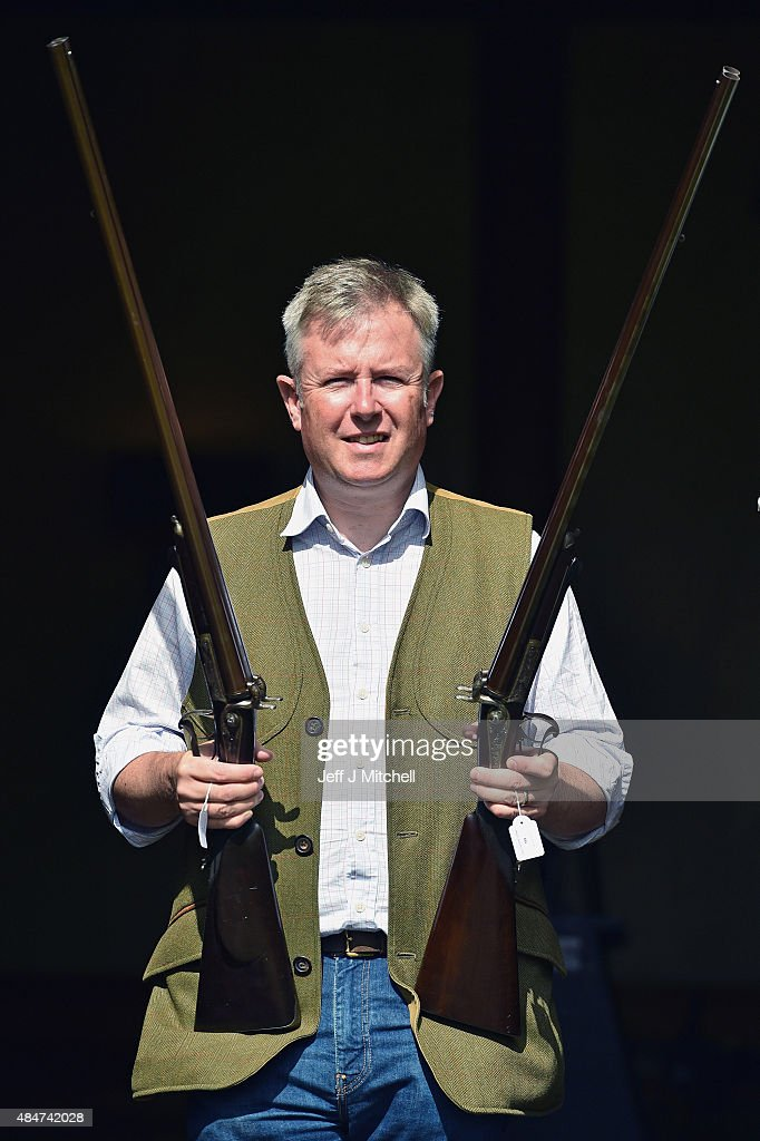Gavin Gardiner holds a pair of 16bore pinfire hammer guns that were built by Albert Staehle for Prince Ernest Augustus Crown Prince of Hanover Heir...
